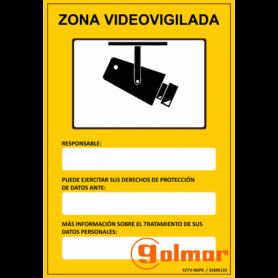 Placa homologada CCTV-RGPD zona videovigilada Golmar