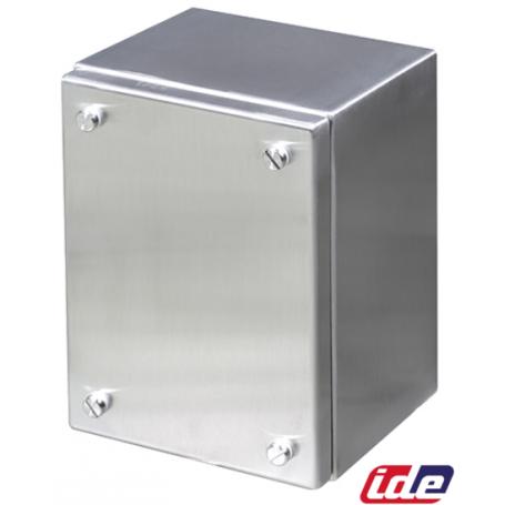 CAJA BORNAS INOX 304L 150x150x90 LAT.LISOS TAPA ATORNILLADA-IP66 MARCA IDE