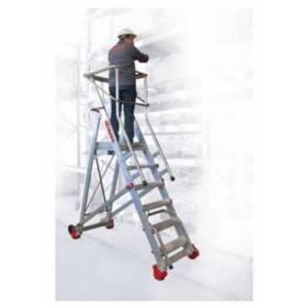 Escalera con plataforma de aluminio para almacenes con 17 peldaños de Faraone 500/SMT