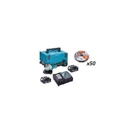 DGA454RMJ + B-12217-50 Miniamoladora 115mm BL 18V 4,0Ah. MakPac + caja de 50 discos de corte 115mmm INOX 1mm