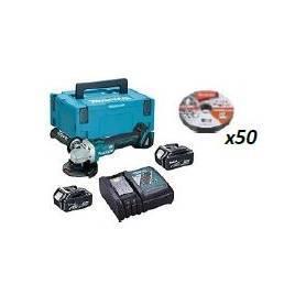 DGA504RMJ + B-12239-50 Miniamoladora 125mm BL 18V 4,0Ah. MakPac + caja de 50 discos de corte 125mmm INOX 1mm