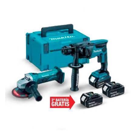 Martillo ligero 18v 16MM DHR165 + Miniamoladora + 3 baterías BL1850B + Cargador
