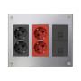 Kit caja metálica pared superficie 3 elementos dobles con 1 enchufe doble, 1 SAI doble y 2 placas RJ45 grafito Simon 500 Cima