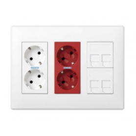 Kit caja pared de superficie-empotrar 3 elementos dobles con 1 enchufe doble,1 SAI doble y 2 placas 2RJ45 blanco Simon 500 Cima