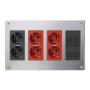 Kit caja metálica pared superficie 4 elementos dobles con 1 enchufe doble,2 SAI dobles y 2 placas 2 RJ45 grafito Simon 500 Cima