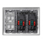 Kit caja pared de superficie-empotrar 3 elementos dobles, 1 enchufe doble,1 SAI doble, 2 placas 2RJ45 aluminio Simon 500 Cima