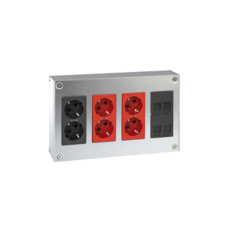 Kit caja metálica pared empotrar 4 elementos dobles con 1 enchufe doble, 2 SAI dobles y 2 placas 2 RJ45 grafito Simon 500 Cima