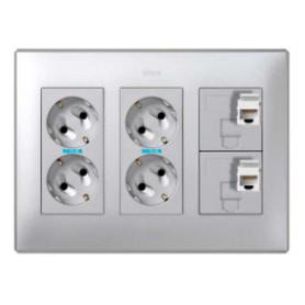 Kit caja pared de superficie o empotrar 3 elementos dobles con 2 enchufes dobles y 2 placas 1RJ45 6 UTP aluminio Simon 500 Cima