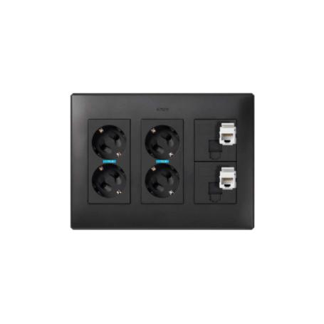 Kit caja pared de superficie o empotrar 3 elementos dobles con 2 enchufes dobles, 2 placas 1 RJ45 6 UTP grafito Simon 500 Cima