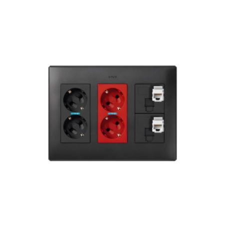 Kit caja pared superficie-empotrar 3 elementos dobles con 1 enchufe doble,1 SAI doble,2 placas RJ45 6UTP grafito Simon 500 Cima