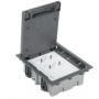 Kit caja de suelo regulable para pavimento 6 elementos con 2 enchufes dobles y 2 placas para 1 RJ45 gris Simon 500 Cima