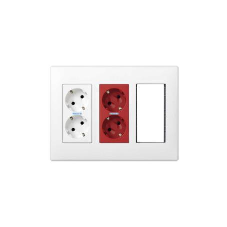 Kit caja pared superficie-empotrar 3 elementos dobles con 1 enchufe doble,1 SAI doble,2 elementos vacíos blanco Simon 500 Cima