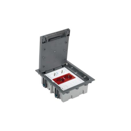 Kit caja de suelo regulable para pavimento 6 elementos con 1 enchufe doble,1SAI doble, 2 placas RJ45 gris Simon 500 Cima