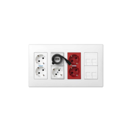 Kit caja pared superficie-empotrar 4 elementos dobles enchufe doble,enchufe,USB,SAI doble,2 placas RJ45 blanco Simon 500 Cima