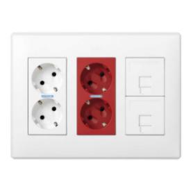 Kit caja pared de superficie-empotrar 3 elementos dobles con 1 enchufe doble,1 SAI doble y 2 placas 1RJ45 blanco Simon 500 Cima
