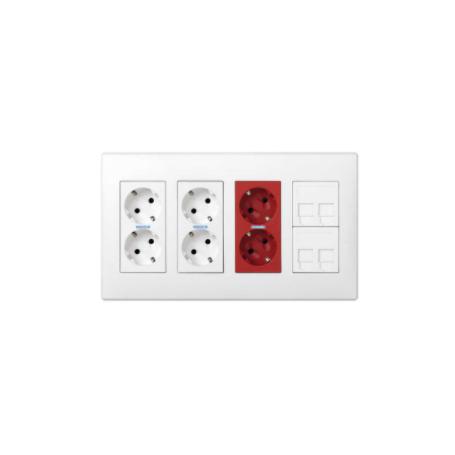 Kit caja pared superficie-empotrar 4 elementos dobles con 2 enchufes dobles,1 SAI doble y 2 placas 2 RJ45 blanco Simon 500 Cima