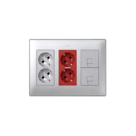 Kit caja pared de superficie-empotrar 3 elementos dobles con 1 enchufe doble,1SAI doble y 2 placas RJ45 aluminio Simon 500 Cima