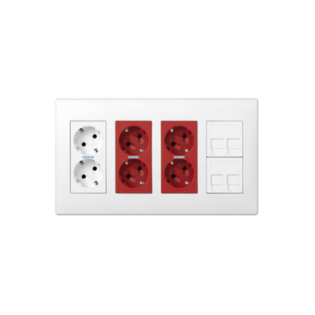 Kit caja pared superficie-empotrar 4 elementos dobles con 1 enchufe doble, 2 SAI dobles y 2 placas 2 RJ45 blanco Simon 500 Cima