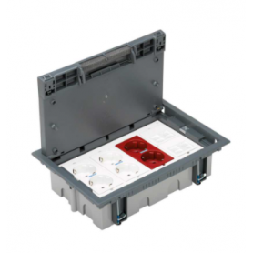 Kit caja suelo regulable pavimento 8 elementos con 2 enchufes dobles, 1 SAI doble y 2 placas 2 RJ45 gris Simon 500 Cima