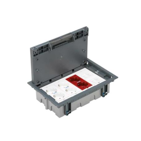 Kit caja suelo regulable pavimento 8 elementos con 2 enchufes dobles, 1 SAI doble y 2 placas 2 RJ45 gris Simon 500 Cima