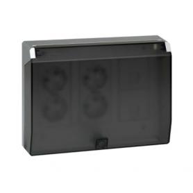 Kit caja pared superficie-empotrar 3 elementos dobles con tapa abatible, 2 enchufes dobles, 2 placas RJ45 blanco Simon 500 Cima