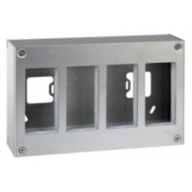 Caja metálica de pared de superficie para 8 elementos acero inox Simon K45
