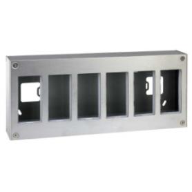 Caja metálica de pared de superficie para 12 elementos acero inox Simon K45