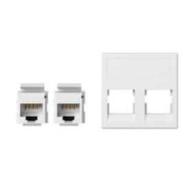 Placa de voz y datos plana sin guardapolvo de 1 elemento con 2 conectores RJ45 de categoría 5e UTP blanco Simon K45