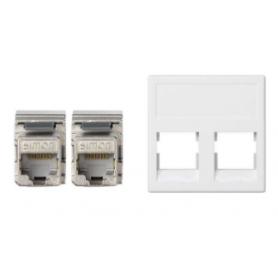 Placa de voz y datos plana sin guardapolvo de 1 elemento con 2 conectores RJ45 de categoría 5e FTP blanco Simon K45