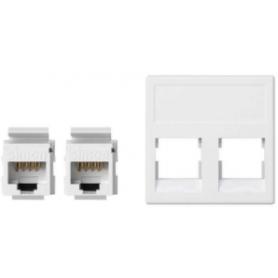 Placa de voz y datos plana sin guardapolvo de 1 elemento con 2 conectores RJ45 de categoría 6 UTP blanco Simon K45