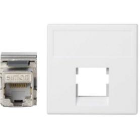 Placa de voz y datos plana sin guardapolvo de 1 elemento con 1 conector RJ45 categoría 5e FTP blanco Simon K45