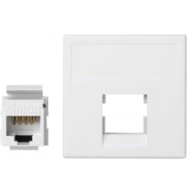 Placa de voz y datos plana sin guardapolvo con 1 conector RJ45 de categoría 6 UTP de 1 elemento blanco Simon K45