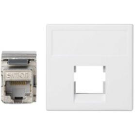 Placa de voz y datos plana sin guardapolvo de 1 elemento con 1 conector RJ45 categoría 6 FTP blanco Simon K45