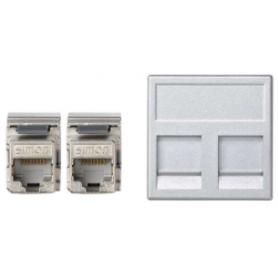 Placa de voz y datos plana con guardapolvo de 1 elemento y 2 conectores RJ45 de categoría 5e FTP aluminio Simon K45