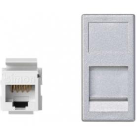 Placa de voz y datos plana con guardapolvo de 1 elemento y 1 conector RJ45 de categoría 5e UTP aluminio Simon K45
