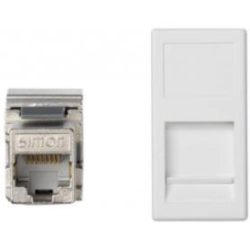 Placa de voz y datos plana con guardapolvo de 1 elemento y 1 conector RJ45 de categoría 5e FTP blanco Simon K45
