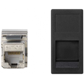 Placa de voz y datos plana con guardapolvo de 1 elemento y 1 conector RJ45 de categoría 5e FTP grafito Simon K45