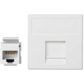 Placa de voz y datos plana con guardapolvo de 1 elemento y 1 conector RJ45 de categoría 5e UTP blanco Simon K45