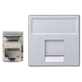 Placa de voz y datos plana con guardapolvo de 1 elemento y 1 conector RJ45 de categoría 5e FTP aluminio Simon K45