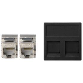 Placa de voz y datos plana con guardapolvo de 1 elemento y 2 conectores RJ45 de categoría 6 FTP grafito Simon K45