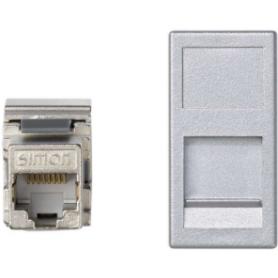 Placa de voz y datos plana con guardapolvo de 1 elemento y 1 conector RJ45 de categoría 6 FTP aluminio Simon K45