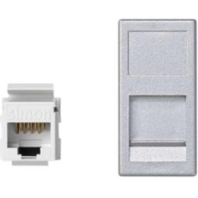 Placa de voz y datos plana con guardapolvo de 1 elemento y 1 conector RJ45 de categoría 6 UTP aluminio Simon K45