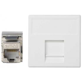 Placa de voz y datos plana con guardapolvo de 1 elemento y 1 conector RJ45 de categoría 6 FTP blanco Simon K45