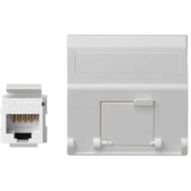 Placa de voz y datos inclinada con guardapolvo de 1 elemento  y 2 conectores RJ45 de categoría 5e UTP blanco Simon K45