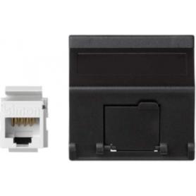 Placa de voz y datos inclinada con guardapolvo de 1 elemento y 1 conector RJ45 de categoría 5e UTP  grafito Simon K45