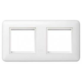 Marco y bastidor para caja de pared de superficie y empotrar para 2 elementos blanco Simon K45