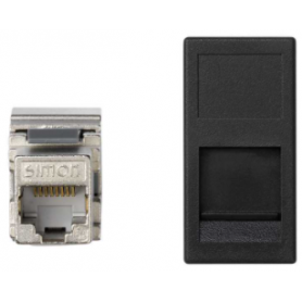 Placa de voz y datos plana con guardapolvo de 1 elemento y 1 conector RJ45 de categoría 6 FTP grafito Simon K45