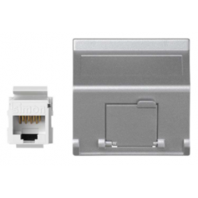 Placa de voz y datos inclinada con guardapolvo de 1 elemento y 1 conector RJ45 de categoría 5e UTP aluminio Simon K45