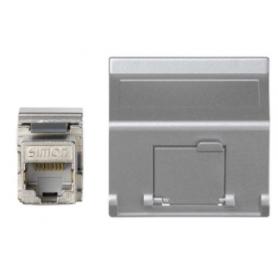 Placa de voz y datos inclinada con guardapolvo de 1 elemento y 1 conector RJ45 de categoría 5e FTP aluminio Simon K45