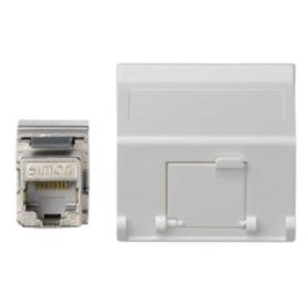 Placa de voz y datos inclinada con guardapolvo de 1 elemento y 1 conector RJ45 de categoría 5e FTP blanco Simon K45